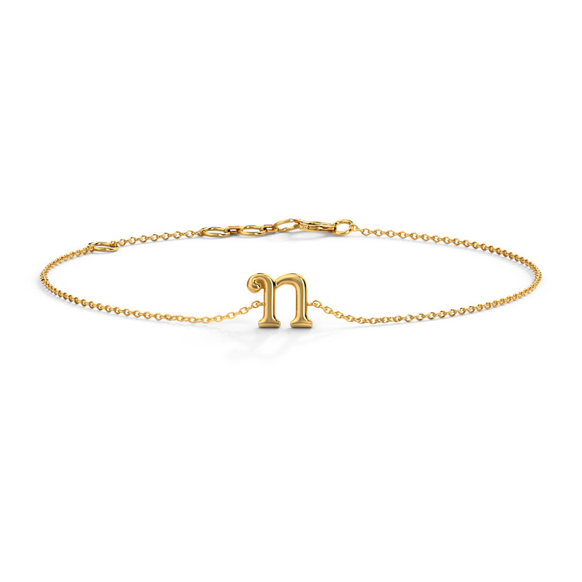 Gold Bracelets 14 Karat Yellow Gold Classic Gold Alphabet U Bracelet