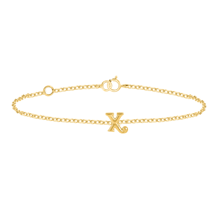 Gold Bracelets 14 Karat Yellow Gold Classic Gold Alphabet X Bracelet