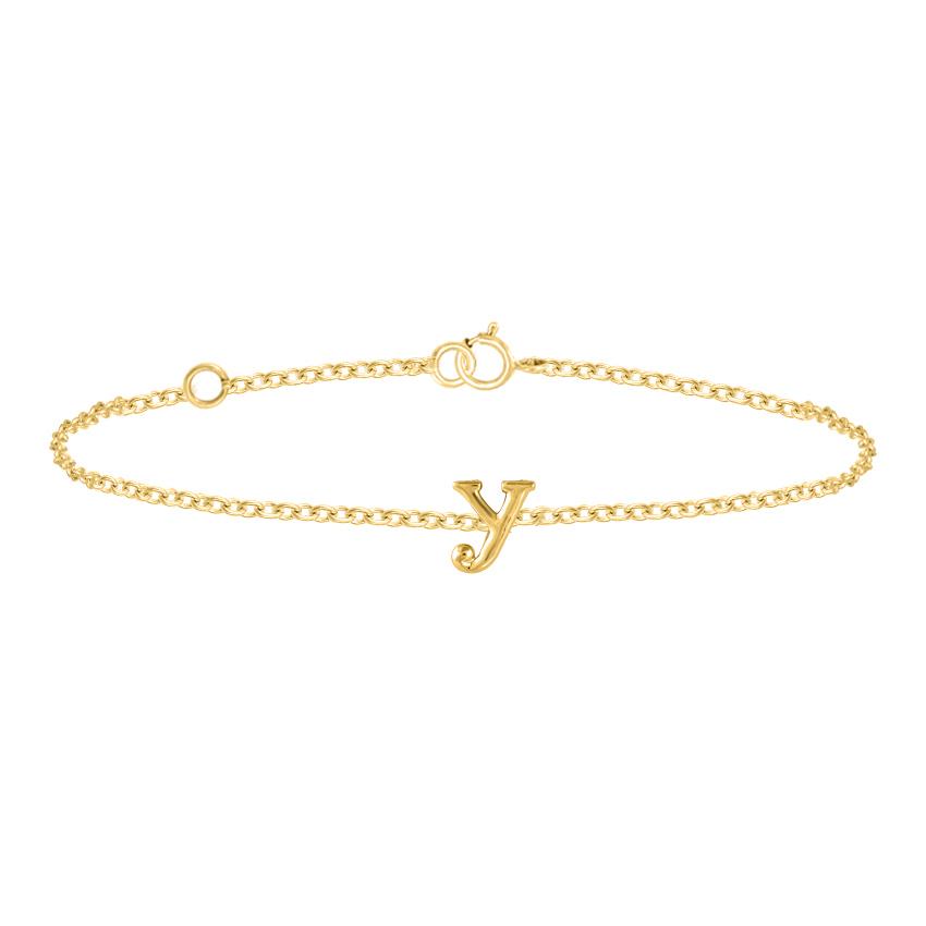 Gold Bracelets 14 Karat Yellow Gold Classic Gold Alphabet Y Bracelet