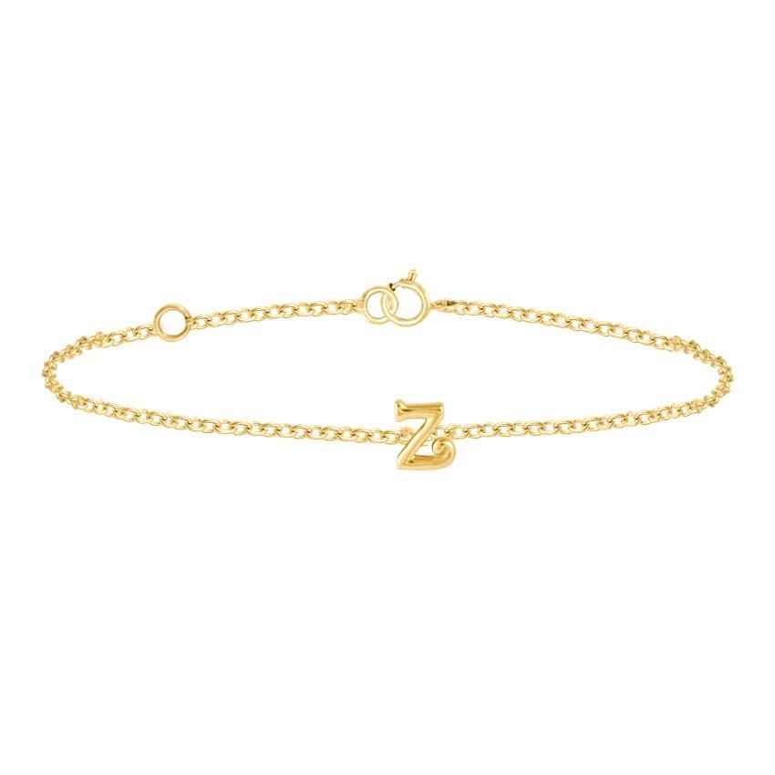 Gold Bracelets 14 Karat Yellow Gold Classic Gold Alphabet Z Bracelet