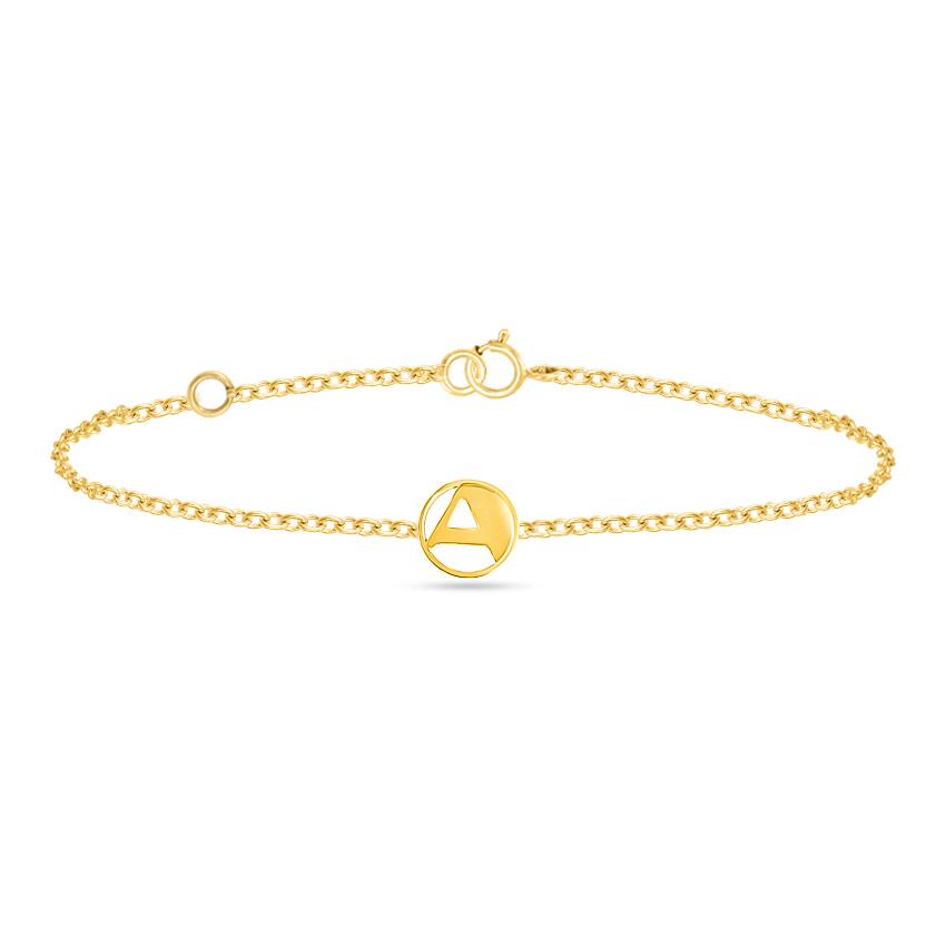 Gold Bracelets 14 Karat Yellow Gold Artsy Gold Alphabet A Bracelet