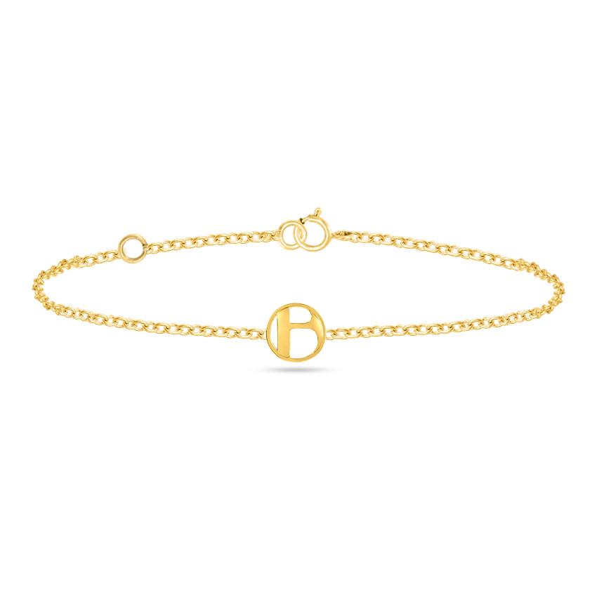 Gold Bracelets 14 Karat Yellow Gold Artsy Gold Alphabet B Bracelet