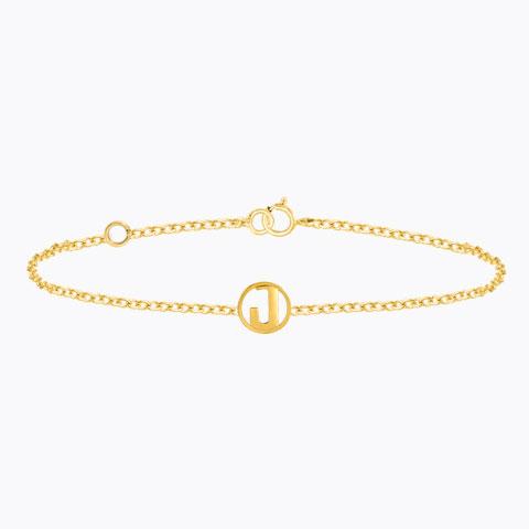 Gold Bracelets 14 Karat Yellow Gold Artsy Gold Alphabet J Bracelet