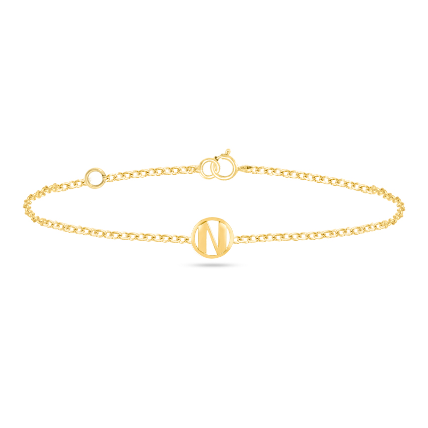 Gold Bracelets 14 Karat Yellow Gold Artsy Gold Alphabet N Bracelet