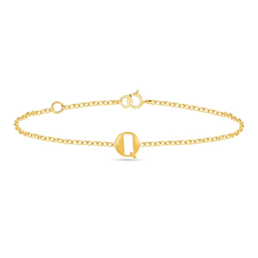Gold Bracelets 14 Karat Yellow Gold Artsy Gold Alphabet Q Bracelet