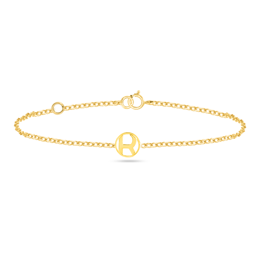 Gold Bracelets 14 Karat Yellow Gold Artsy Gold Alphabet R Bracelet