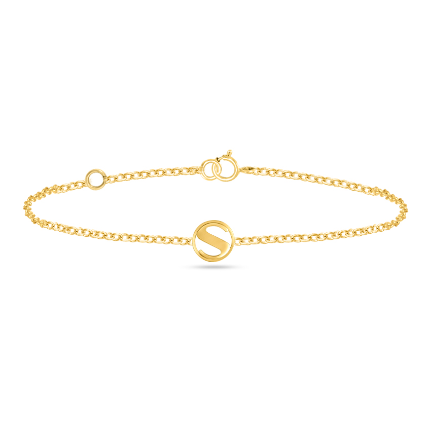 Gold Bracelets 14 Karat Rose Gold Artsy Gold Alphabet S Bracelet