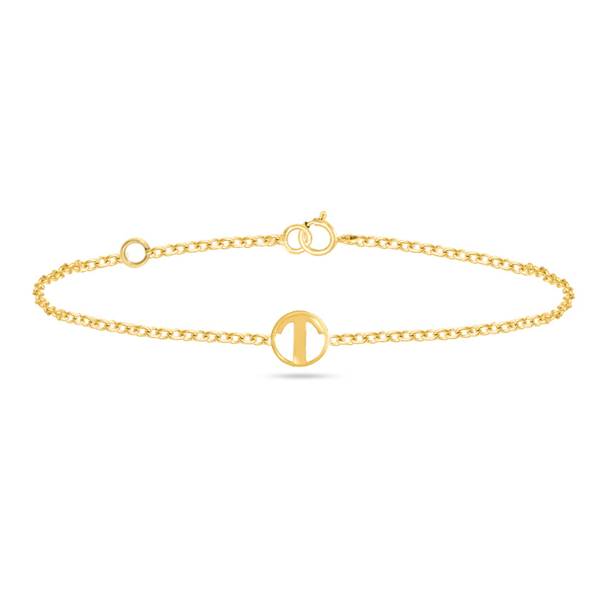 Gold Bracelets 14 Karat Yellow Gold Artsy Alphabet T Gold Bracelet