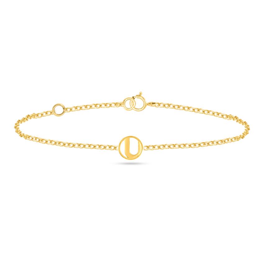 Gold Bracelets 14 Karat Yellow Gold Artsy Gold Alphabet U Bracelet