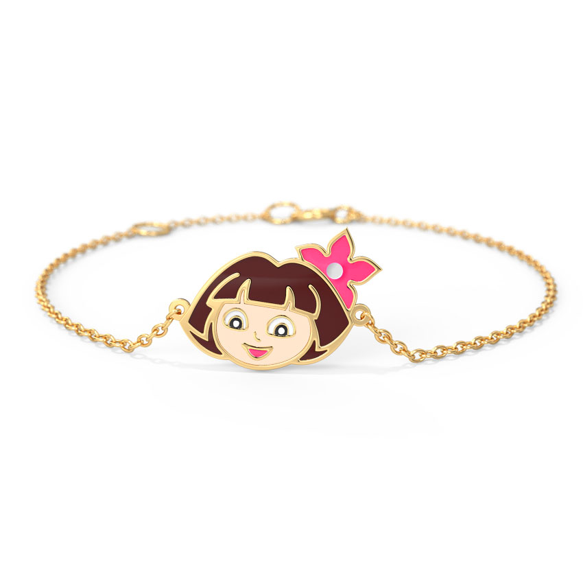 Gold Bracelets 14 Karat Yellow Gold Floral Dora The Explorer Kids' Gold Bracelet