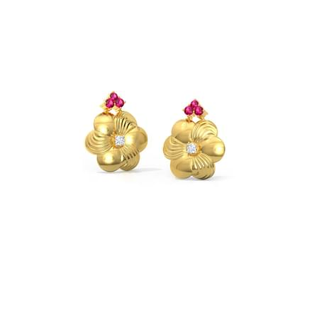 Brushed Golden Stud Earrings