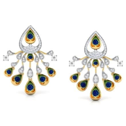 Ritzy Peacock Stud Earrings