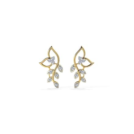 50434b74727 Classic Leaves Diamond Stud Earrings Jewellery India Online ...