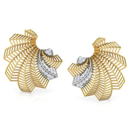 Tropical Palm Leaf Stud Earrings