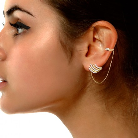 Arch Stud Earrings with Chain Clips