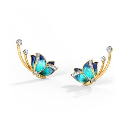 Flitter Blue Butterfly Ear Cuffs
