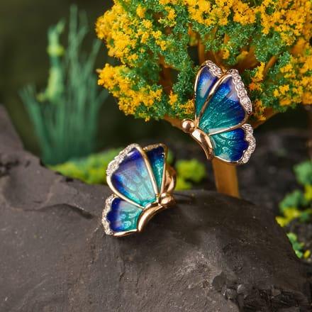 Flutter Blue Butterfly Stud Earrings Jewellery India