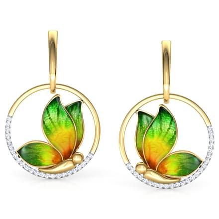 Encircle Green Butterfly Drop Earrings