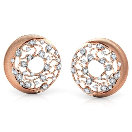 Circular Filigree Brocade Stud Earrings