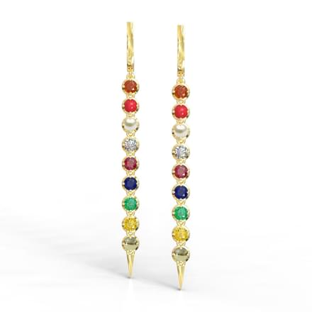 Linear Navratna Drop Earrings