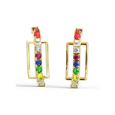 Edgy Navratna Stud Earrings