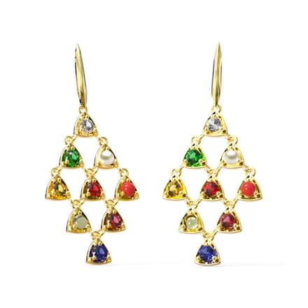 Sway Navratna Drop Earrings