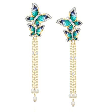 Majestic Blue Butterfly Drop Earrings