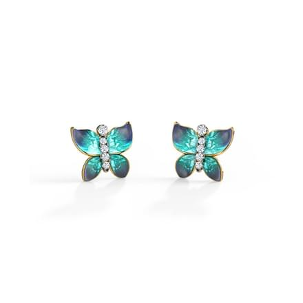 Hover Blue Butterfly Stud Earrings