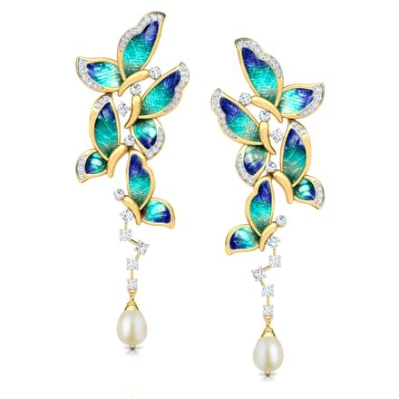 Ornate Blue Butterfly Drop Earrings