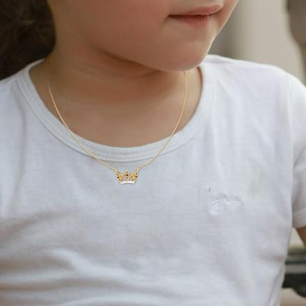 Dainty Crown Diamond Necklace