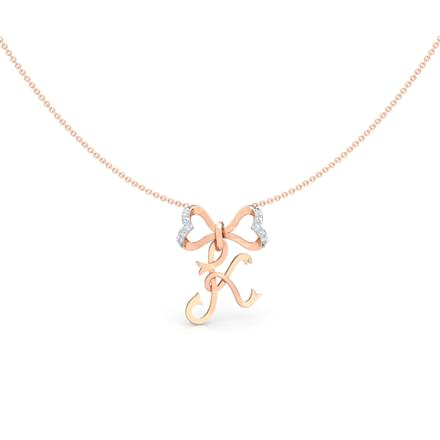 Alphabet K Bow Diamond Necklace
