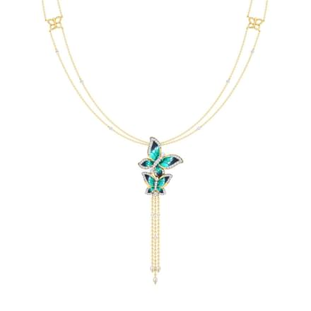 Majestic Blue Butterfly Lariat Necklace