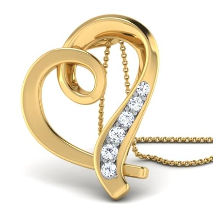 Asta Heart Gold Pendant in 14KT Yellow Gold