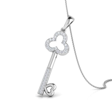 Fate's Key Gold Pendant in 14KT White Gold