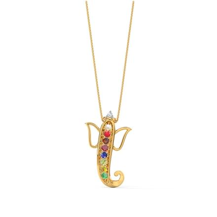 Jai Ganesh Navratna Pendant Jewellery India line CaratLane