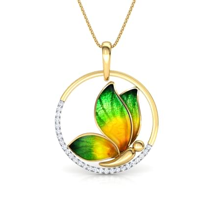 Encircle Green Butterfly Pendant