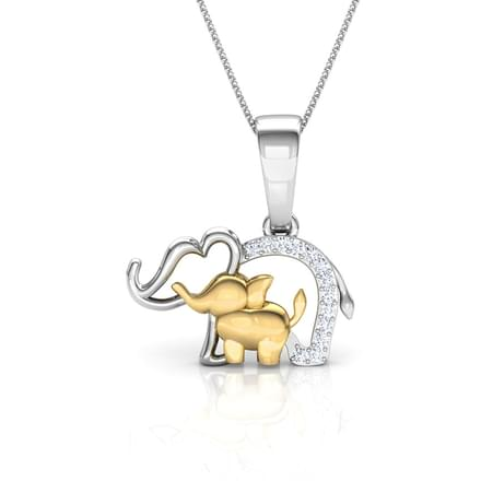 Elephant Mother and Daughter Pendant