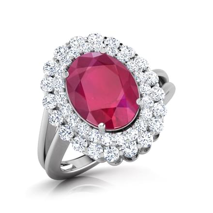 Ruby Double Halo Ring
