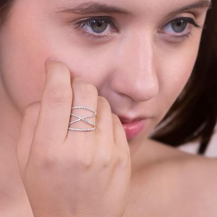 Angular Criss Cross Ring