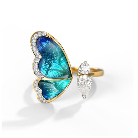 One Wing Blue Butterfly Ring