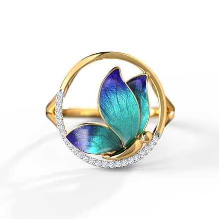 Encircle Blue Butterfly Ring