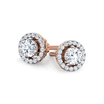 Glitter Halo Solitaire Stud Earrings