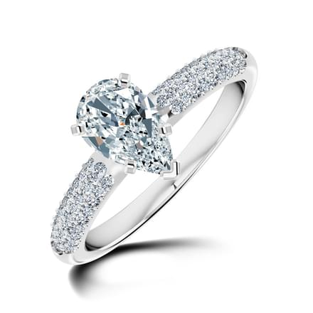 Charm Pear Solitaire Ring