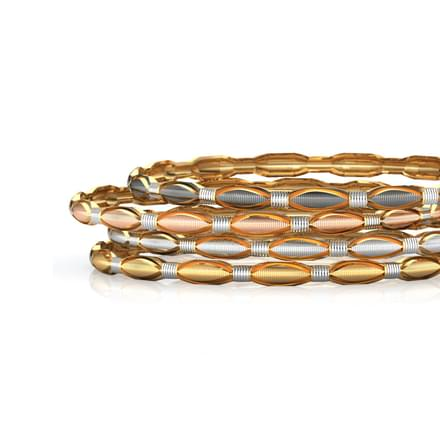 Four Tone Textured Gold Bangle Set of 4