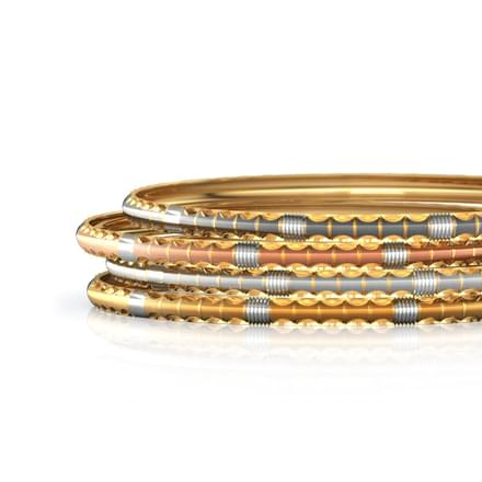 Four Tone Gold Bangle Set of 4