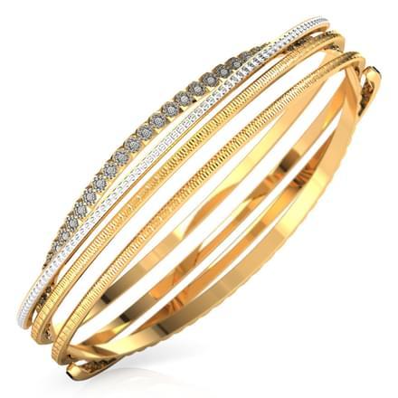 Crossover deco gold bangle