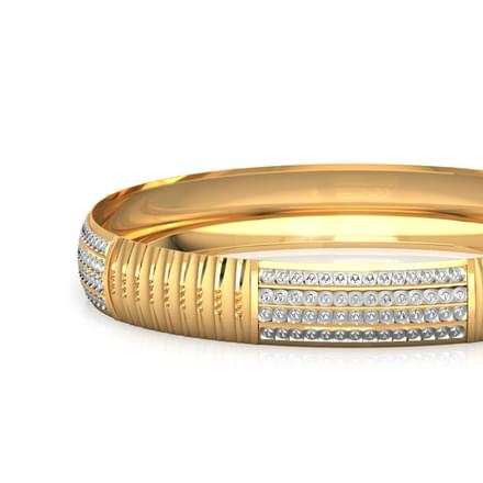 Dual-Finish Gold Bangle