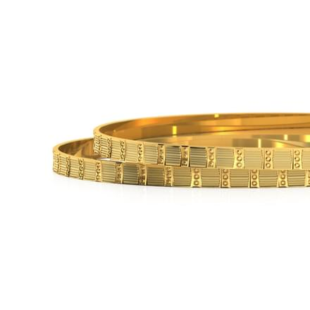 Textured Gold Bangle Set of 2