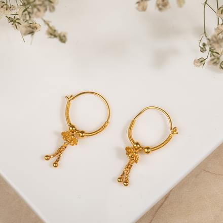 Chetsi Beaded Gold Hoop Earrings Jewellery India line