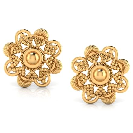 Milligrain Gold Stud Earrings Jewellery India line CaratLane